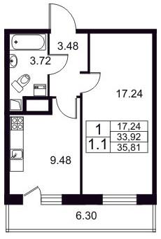 Планировка Однокомнатная квартира площадью 33.92 кв.м в ЖК «Березовая Роща»