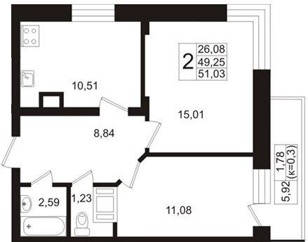 Планировка Двухкомнатная квартира площадью 49.25 кв.м в ЖК «Березовая Роща»