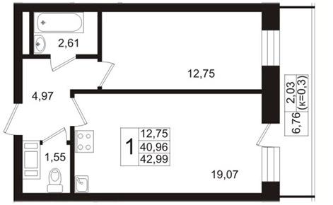 Планировка Двухкомнатная квартира (Евро) площадью 40.96 кв.м в ЖК «Березовая Роща»