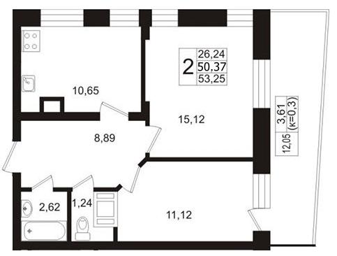 Планировка Двухкомнатная квартира площадью 50.37 кв.м в ЖК «Березовая Роща»